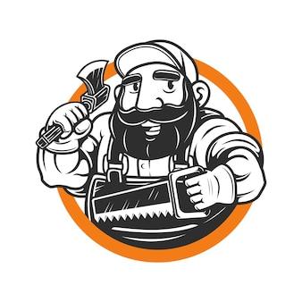 La mascotte de bûcheron barbu tient la hache et la scie