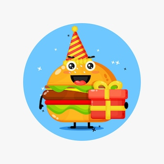 Mascotte de burger mignon pour l'anniversaire