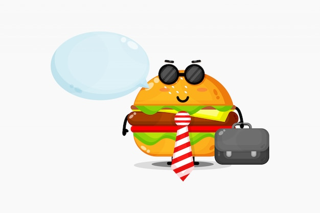 Mascotte de burger mignon va au bureau