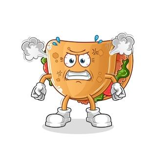 Mascotte de burrito très en colère. dessin animé