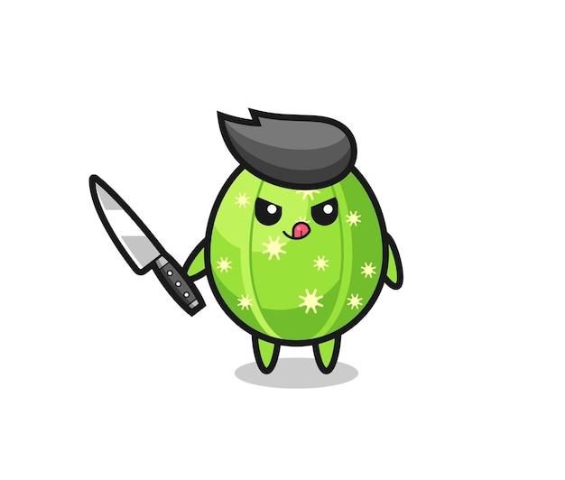 Mascotte de cactus mignon en tant que psychopathe tenant un couteau, design de style mignon pour t-shirt, autocollant, élément de logo