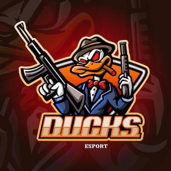Mascotte de canard mafia esport logo