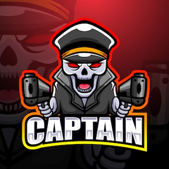 Mascotte de capitaine crâne esport