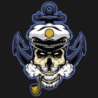 Mascotte de capitaine de pirate crâne avec logo de lame