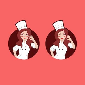 Mascotte de caractère beauté femme femme chef logo avec expression sertie de pose de main ok