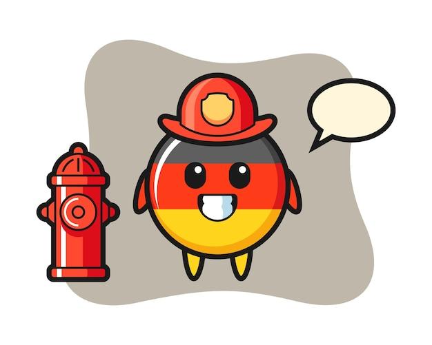 Mascotte de caractère de l'insigne du drapeau de l'allemagne en tant que pompier