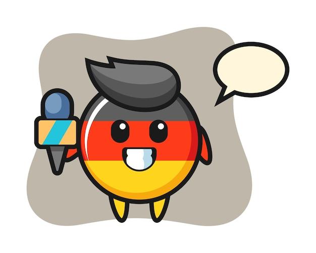 Mascotte de caractère de l'insigne du drapeau allemand en tant que journaliste