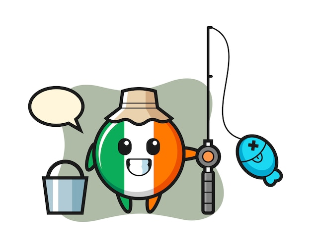 Mascotte de caractère d'insigne du drapeau irlandais en tant que pêcheur