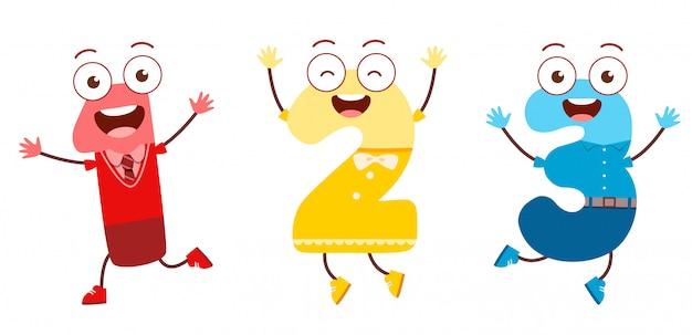 Mascotte de caractère de nombre mignon pour l'étude de l'enfant