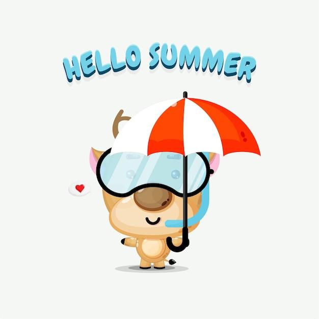 Mascotte de cerf mignon portant un parapluie avec des salutations d'été
