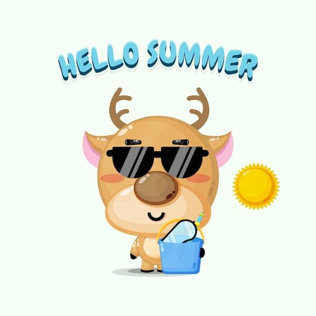 Mascotte de cerf mignon portant un seau avec des salutations d'été