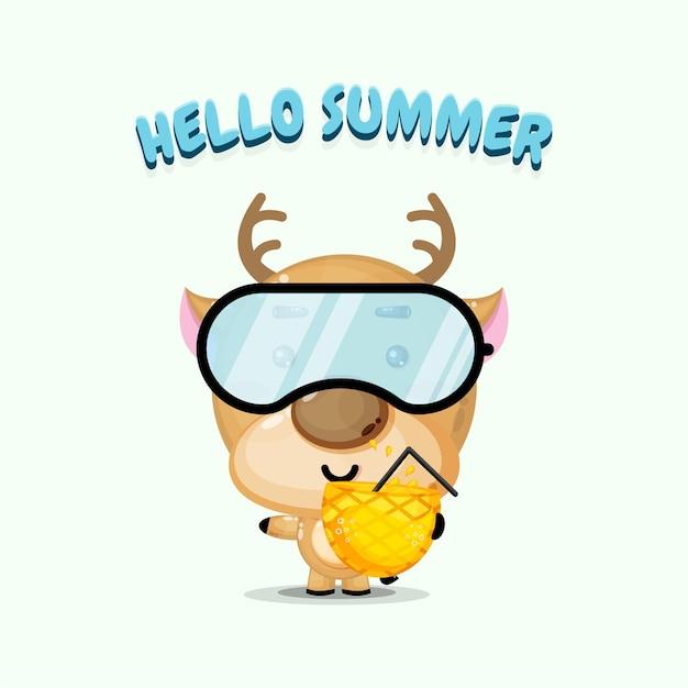 Mascotte de cerf mignon transportant du jus d'ananas avec des salutations d'été