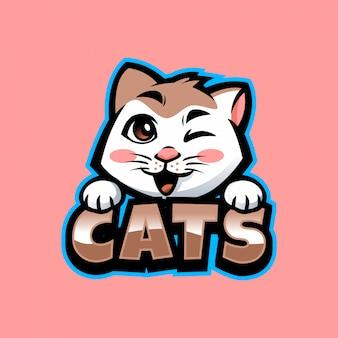 Mascotte de chat de dessin animé