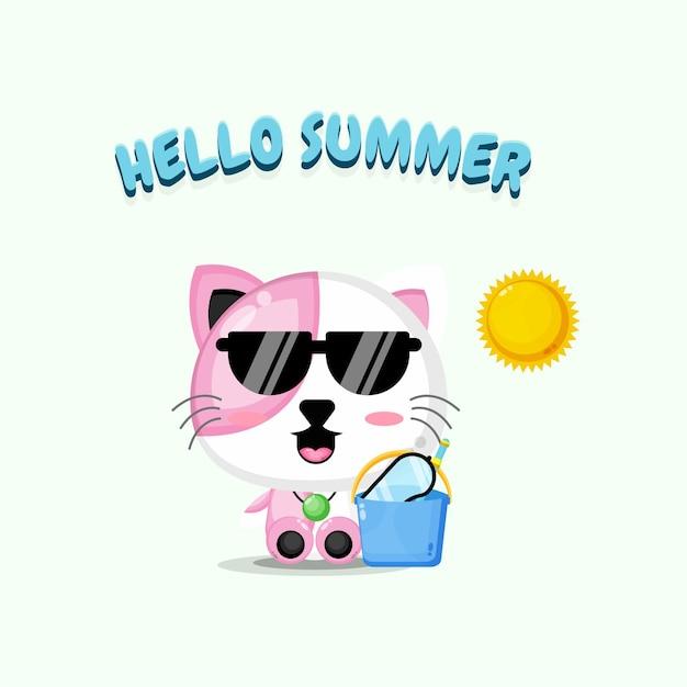 Mascotte de chat mignon portant un seau avec des salutations d'été
