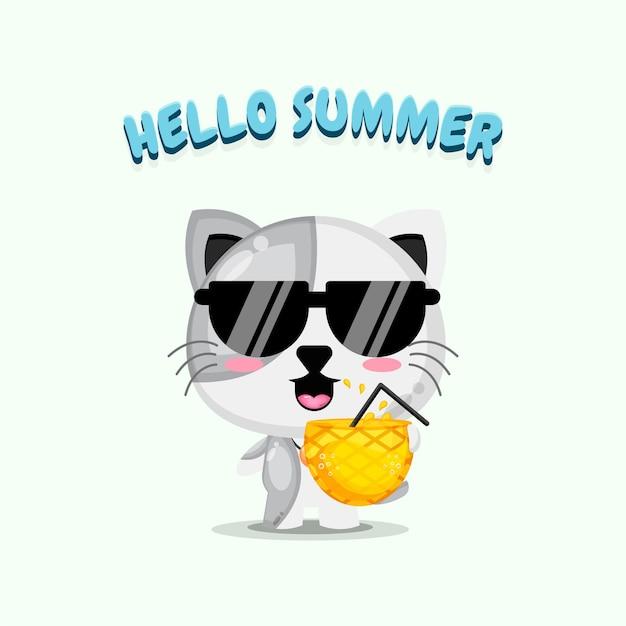 Mascotte de chat mignon transportant du jus d'ananas avec des salutations d'été