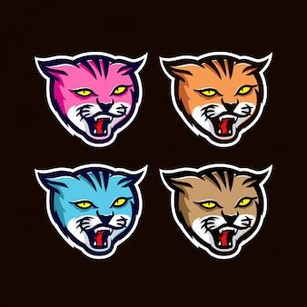 Mascotte de chats esport logo
