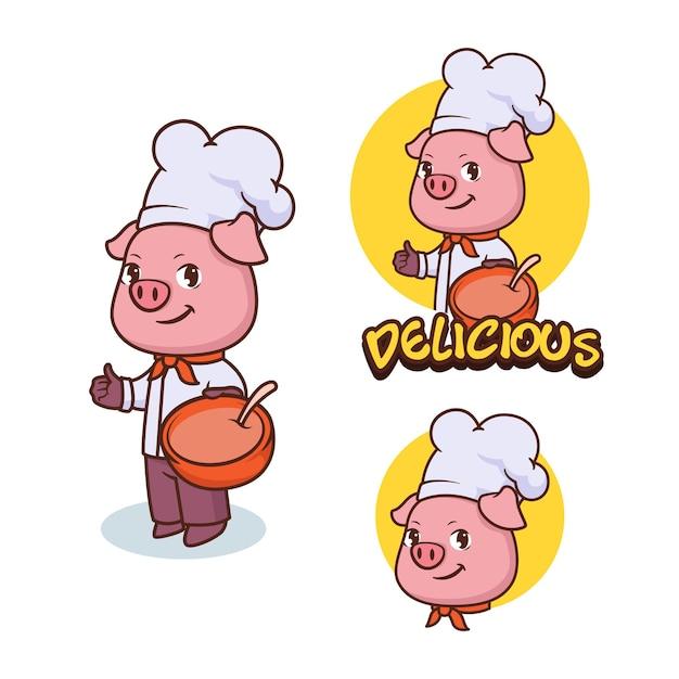 Mascotte de chef de cochon, création de logo