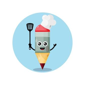 Mascotte de chef de crayon