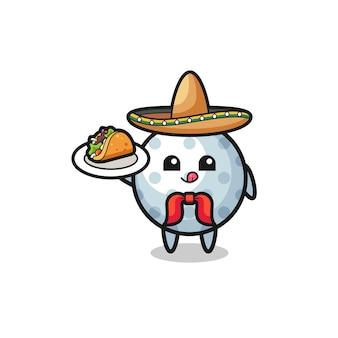 Mascotte de chef mexicain de golf tenant un taco, design mignon
