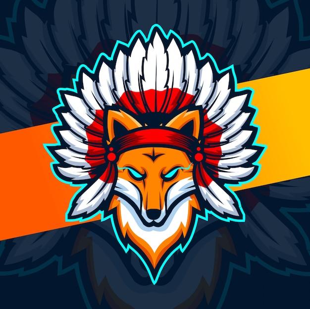 Mascotte de chef renard indien esport logo