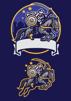 Mascotte de cheval d'équitation guerrier arabe
