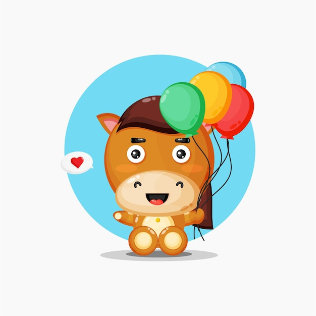 Mascotte de cheval mignon transportant des ballons