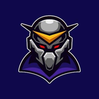 Mascotte de chevalier aux yeux rouges isolé sur violet