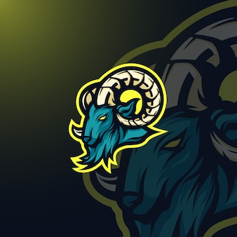 Mascotte de chèvre logo e-sport