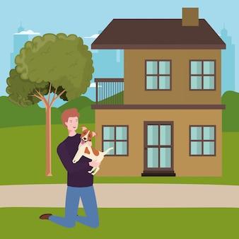 Mascotte chien, levage, dehors, maison