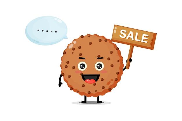 Mascotte de chocolat mignon avec le signe des ventes