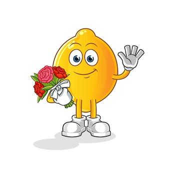 Mascotte de citron au bouquet. dessin animé