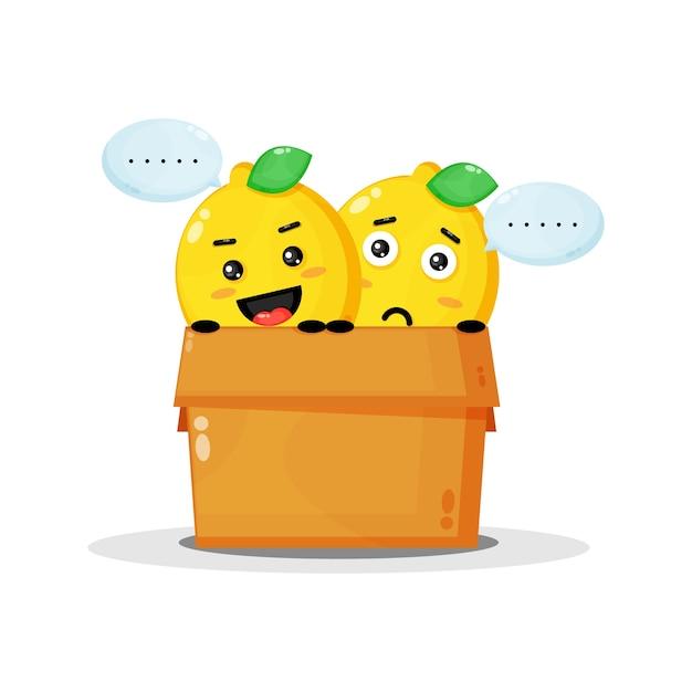 Mascotte de citron mignon dans la boîte