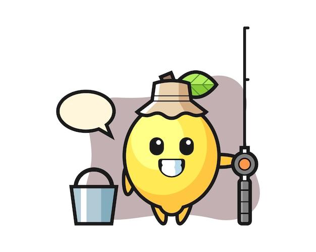 Mascotte de citron en tant que pêcheur