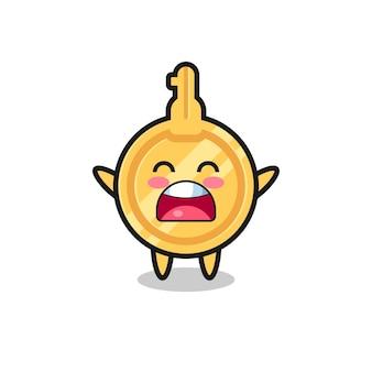 Mascotte de clé mignonne avec une expression de bâillement, design mignon