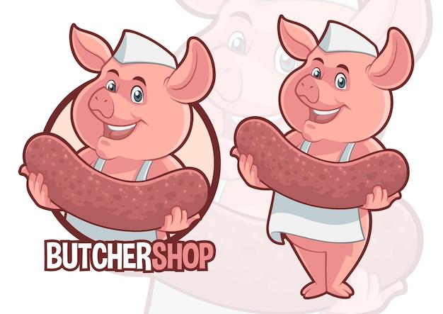 Mascotte de cochon avec un design de grosse saucisse pour boucherie