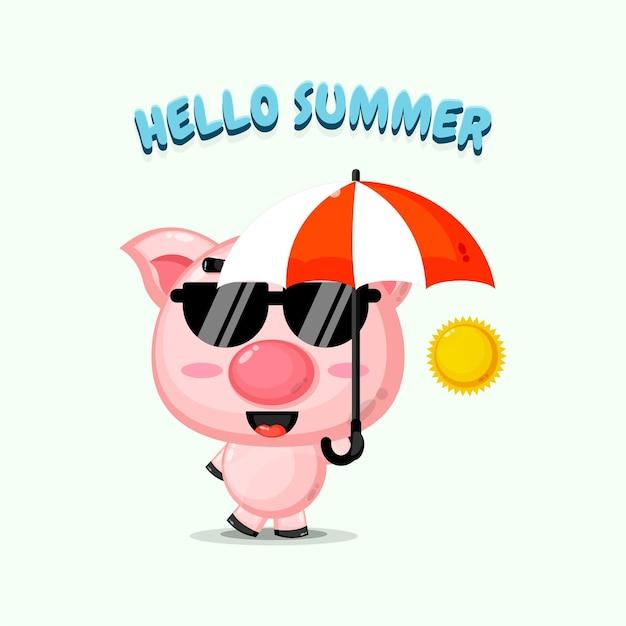 Mascotte de cochon mignon portant un parapluie avec des salutations d'été