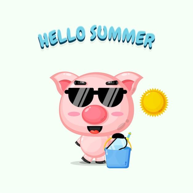 Mascotte de cochon mignon portant un seau avec des salutations d'été
