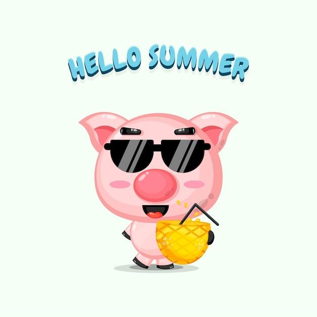 Mascotte de cochon mignon transportant du jus d'ananas avec des salutations d'été