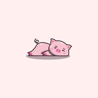 Mascotte de cochon paresseux et ennuyé dessiné à la main kawaii.