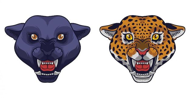 Mascotte en colère panthère noire et tête de léopard