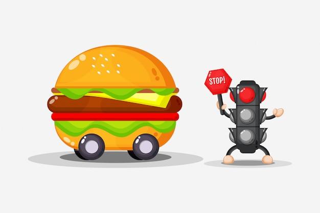 Mascotte de conception de voiture burger avec feu de circulation