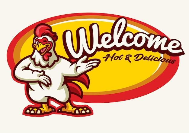 Mascotte de coq de poulet heureux