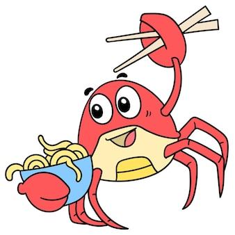 Mascotte de crabe rouge portant un bol de nouilles, personnage mignon de doodle à dessiner. illustration vectorielle