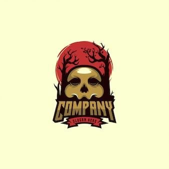 Mascotte de crâne avec logo
