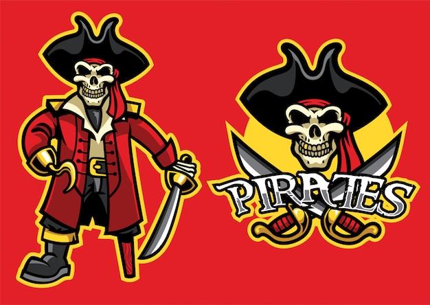 Mascotte de crâne de pirate dans l'ensemble