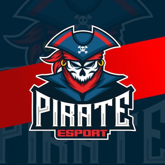 Mascotte de crâne de pirate logo esport