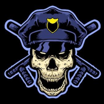 Mascotte de crâne de police avec chemin d'accès et tête de bâton