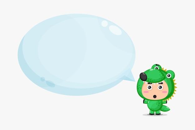 Mascotte de crocodile mignon avec discours de bulle