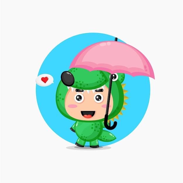 Mascotte de crocodile mignon portant un parapluie