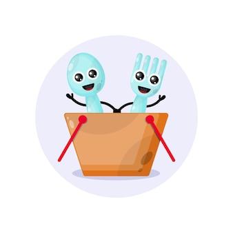 Mascotte cuillère panier à main